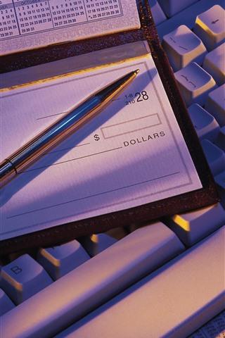iPhone Wallpaper Pen, check, keyboard