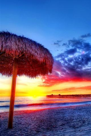 iPhone Wallpaper Sunset, sea, coast, beach, dock, gazebo