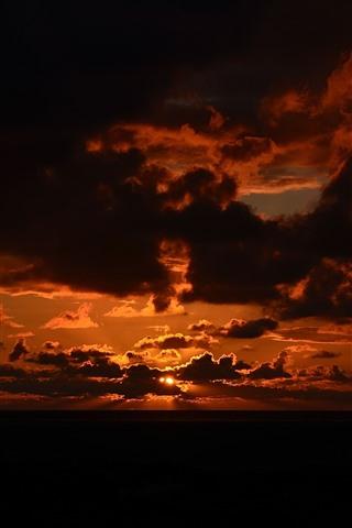 iPhone Wallpaper Sunset, sky, clouds, night