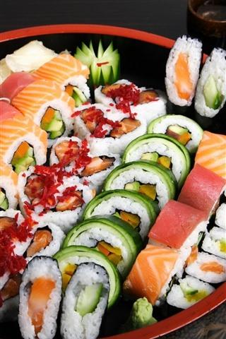 iPhone Wallpaper Sushi, food, sticks, Japanese food