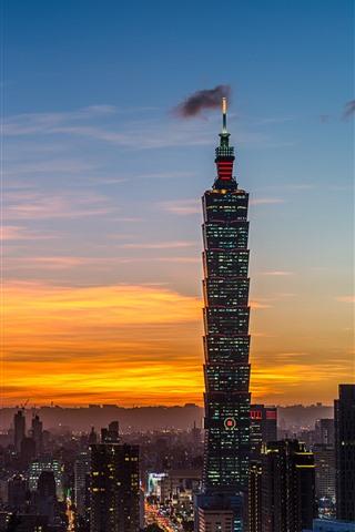 iPhone Wallpaper Taiwan, Taipei 101 building, city at night, skyscrapers, lights