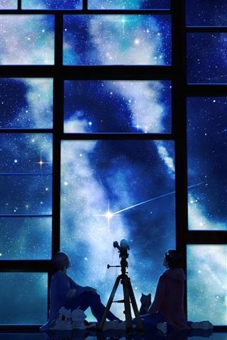 iPhone Wallpaper Window, starry, night, anime, girl and boy