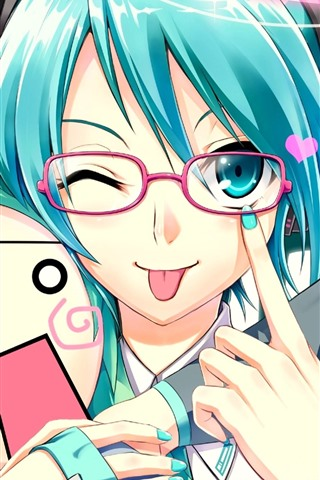 iPhone Wallpaper Blue hair anime girl, playful, Hatsune Miku