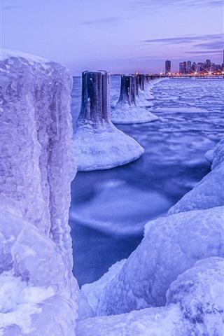 iPhone Wallpaper Chicago, snow, ice, sea, city, winter