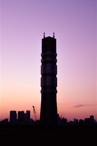 iPhone Wallpaper City, tower, sunset, dusk