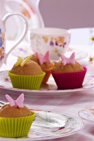 iPhone Wallpaper Cupcakes, tea, cups