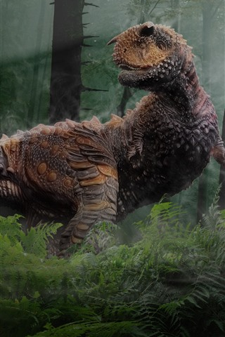 iPhone Wallpaper Dinosaur, trees, forest, creative picture