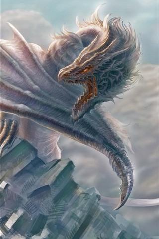 iPhone Wallpaper Dragon, wings, warrior, art picture