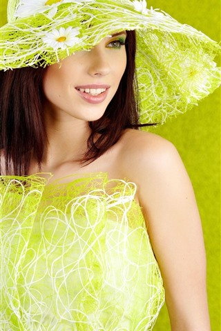 iPhone Wallpaper Fashion girl, green style, hat, smile