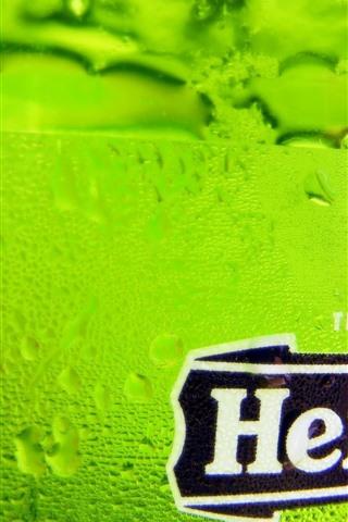 iPhone Wallpaper Heineken beer, green bottle, surface, water droplets