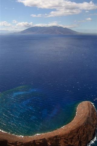 iPhone Wallpaper Island, sea, top view