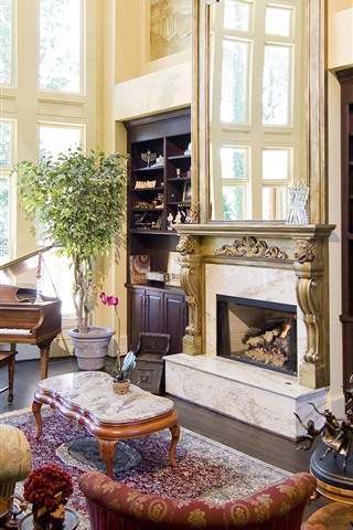 iPhone Wallpaper Living room, fireplace, sofa, piano
