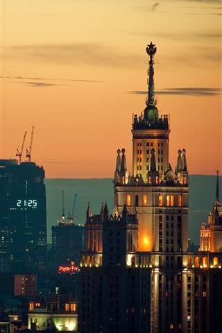 iPhone Wallpaper Moscow, buildings, night, city, Russia