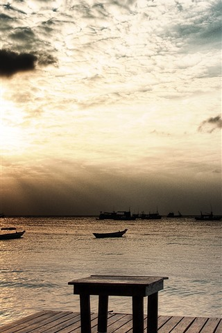 iPhone Wallpaper Pier, sunset, sea, wood table, boats, clouds