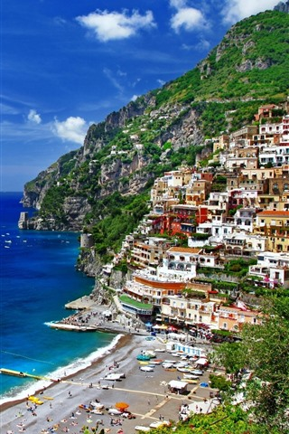 iPhone Wallpaper Positano, Salerno, Italy, houses, sea, boats