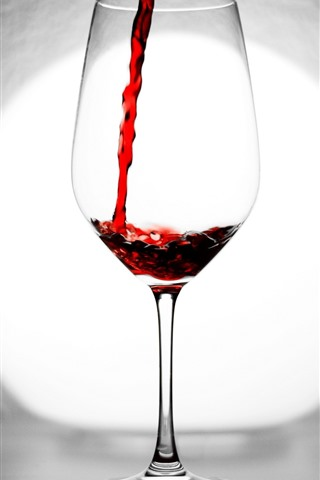 iPhone Wallpaper Red wine, glass cup, backlight