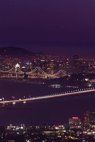 iPhone Wallpaper San Francisco, night, bridge, city, lights, sea, USA