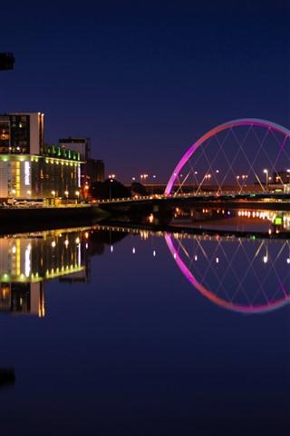 iPhone Hintergrundbilder Schottland, Großbritannien, Fluss, Lichter, Brücke