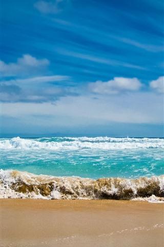 iPhone Wallpaper Sea, beach, waves, water, foam