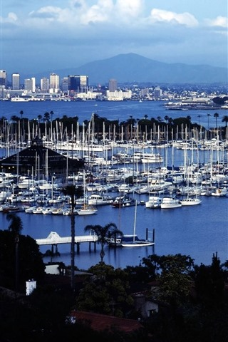 iPhone Wallpaper Shelter Island, San Diego, USA, yachts, sea