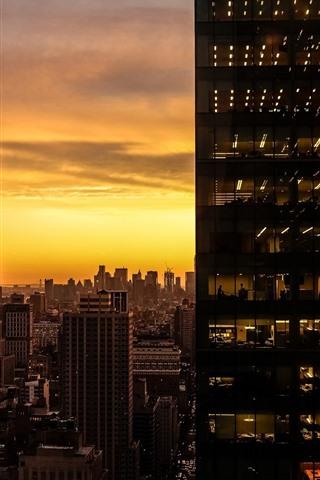 iPhone Wallpaper Skyscrapers, glass, sunset, lights, rooms, windows, city