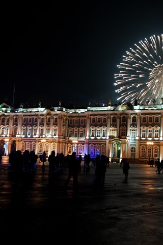 iPhone Wallpaper St Petersburg, square, night, fireworks, Russia