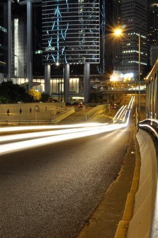 iPhone Wallpaper Tokyo, road, light lines, city, night, Japan