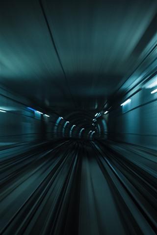 iPhone Wallpaper Tunnel, lights, speed