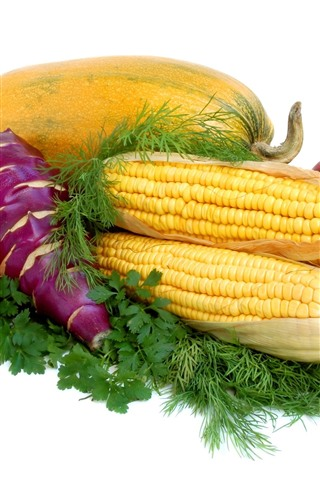 iPhone Wallpaper Vegetables, corn, tomato, pumpkin, apples, white background