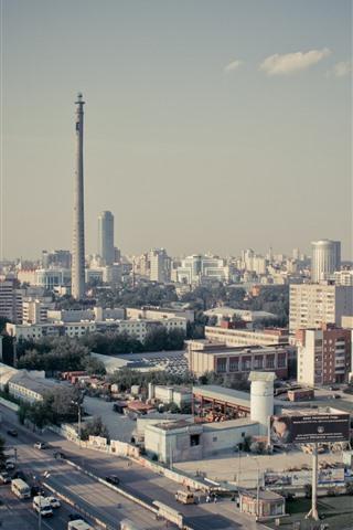 iPhone Wallpaper Yekaterinburg, city, buildings, roads, Russia