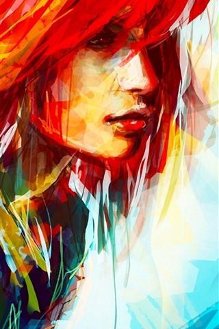 iPhone Hintergrundbilder Kunstmalerei, buntes Haarmädchen, Gesicht, abstrakt
