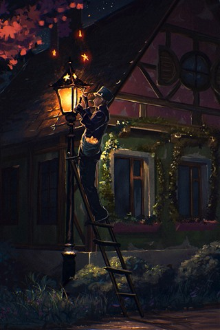 iPhone Wallpaper Art painting, night, house, people, lights, trees, countryside