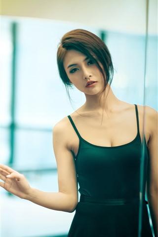 iPhone Wallpaper Beautiful Asian girl, look at mirror