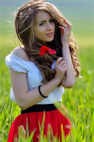 iPhone Wallpaper Beautiful girl, brown hair, grass, poppy flowers, summer