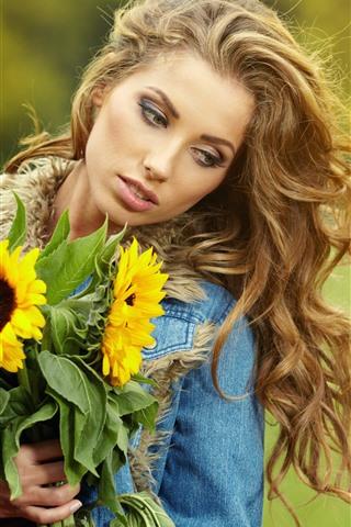 iPhone Wallpaper Blonde girl, sunflowers, hazy