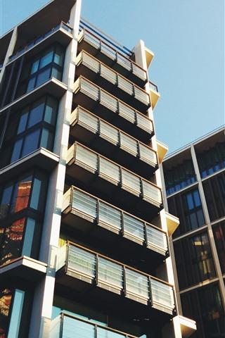 iPhone Wallpaper City, buildings, windows, balcony