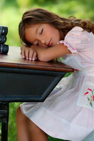 iPhone Wallpaper Cute child girl sleep, table, books, apple