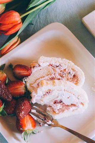 iPhone Wallpaper Dessert, strawberry, tulips, coffee
