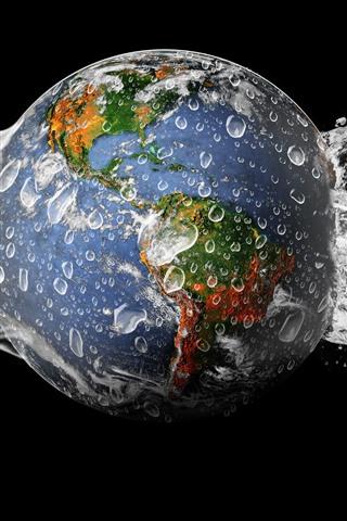iPhone Papéis de Parede Terra, respingos de água, fundo preto
