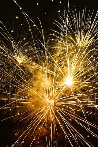 iPhone Wallpaper Fireworks, light lines, night