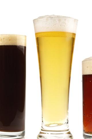 iPhone Wallpaper Five cups beer, foam, drinks