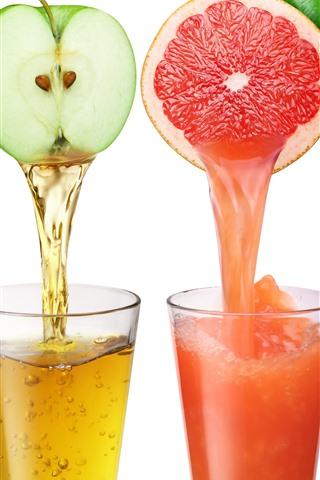 iPhone Wallpaper Four cups juice, colorful, orange, apple, tomato