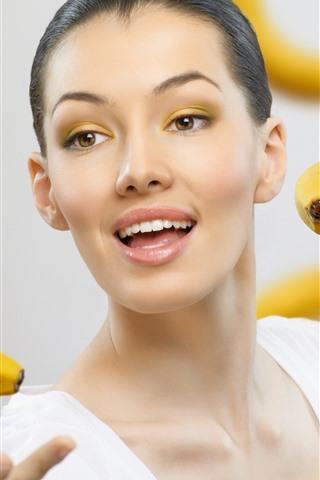 iPhone Wallpaper Girl and banana