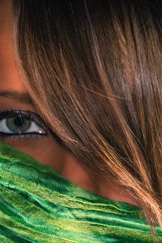 iPhone Wallpaper Girl face, eye, hair, scarf