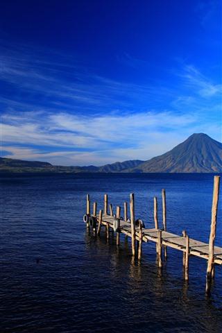 iPhone Wallpaper Guatemala, island, mountains, sea, dock
