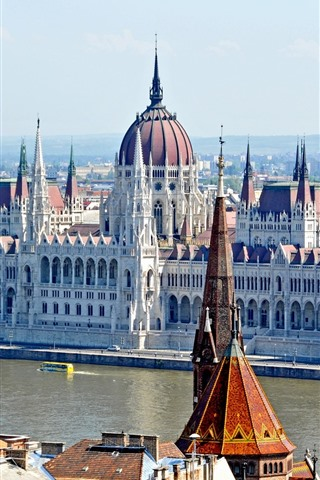 iPhone Wallpaper Hungary, Budapest, city, buildings, river
