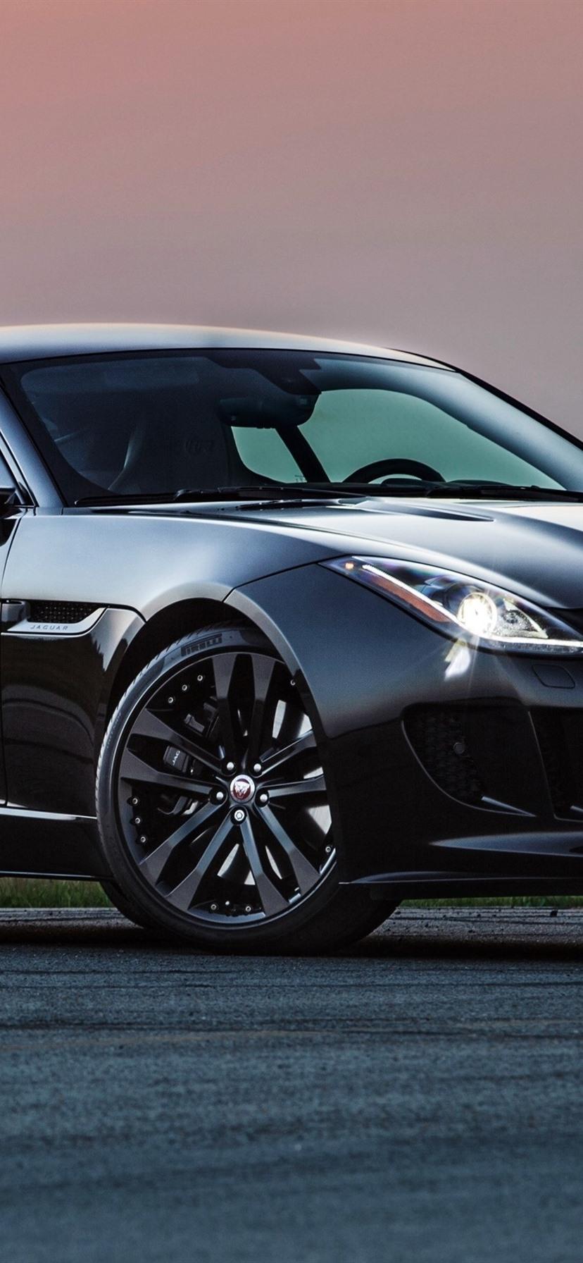 Jaguar Black Supercar Sunset 828x1792 Iphone 11 Xr Wallpaper Background Picture Image