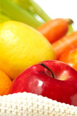 iPhone Wallpaper Lemon, apple, tomato, orange
