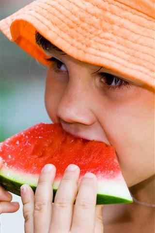 iPhone Papéis de Parede Menina come melancia