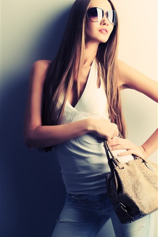 iPhone Wallpaper Long hair fashion girl, sunglasses, handbag